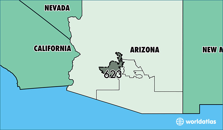 Where Is Area Code 623 Map Of Area Code 623 Glendale Az Area Code