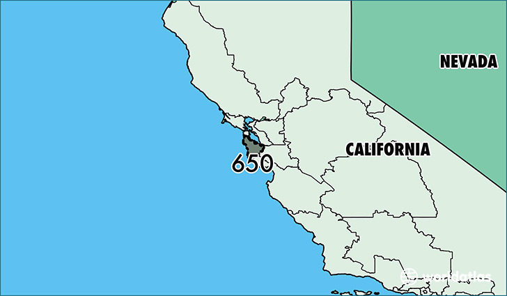 Map of California with area code 650 highlighted