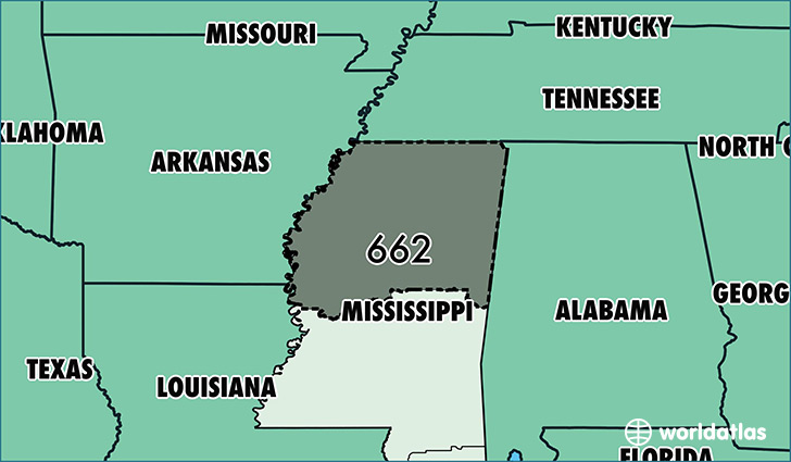 Map of Mississippi with area code 662 highlighted