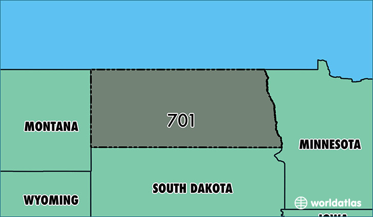 Map of  with area code 701 highlighted