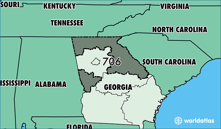 Where Is Area Code 706 Map Of Area Code 706 Columbus Ga Area Code