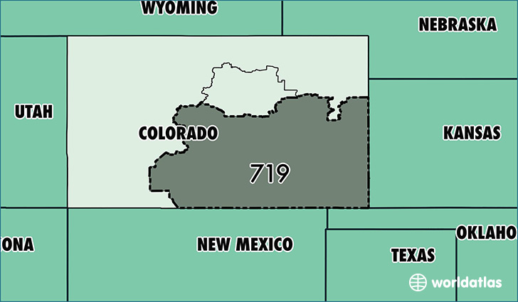 Map of Colorado with area code 719 highlighted