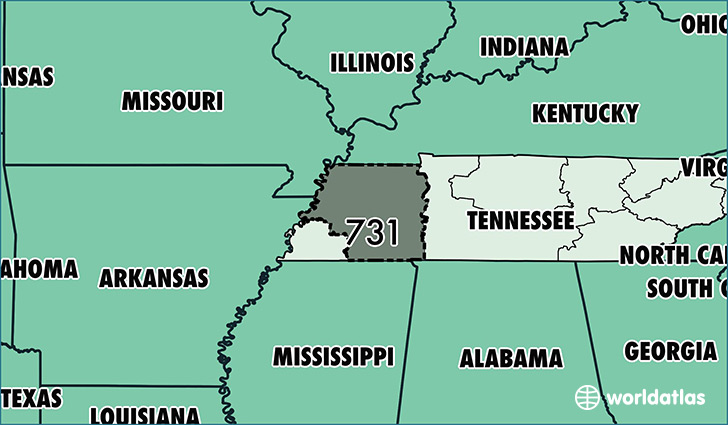 Map of Tennessee with area code 731 highlighted