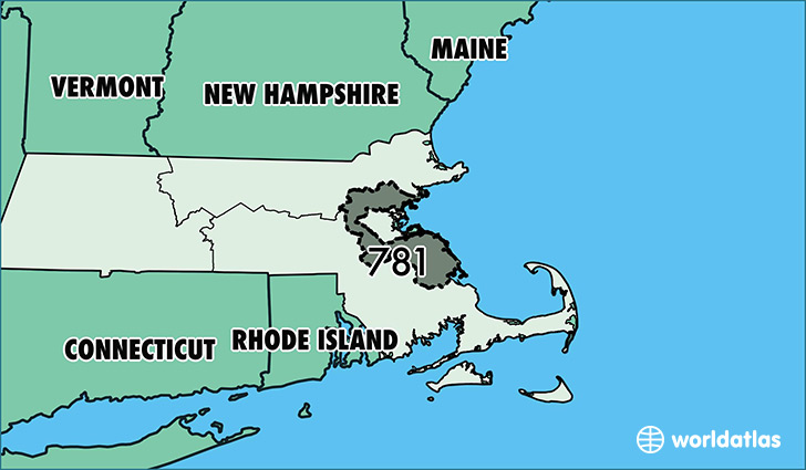 Map of Massachusetts with area code 781 highlighted