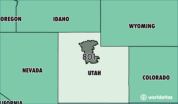 Map of Utah with area code 801 highlighted