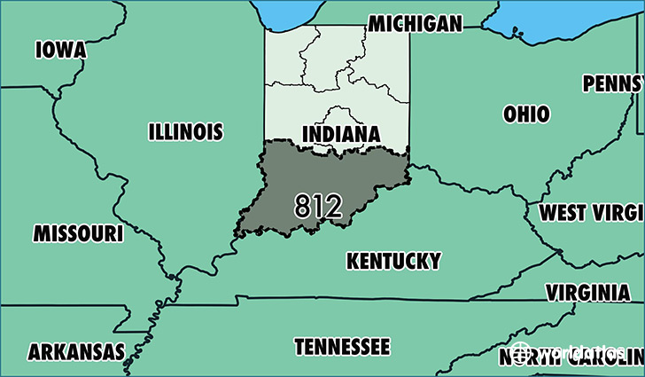 Map of Indiana with area code 812 highlighted