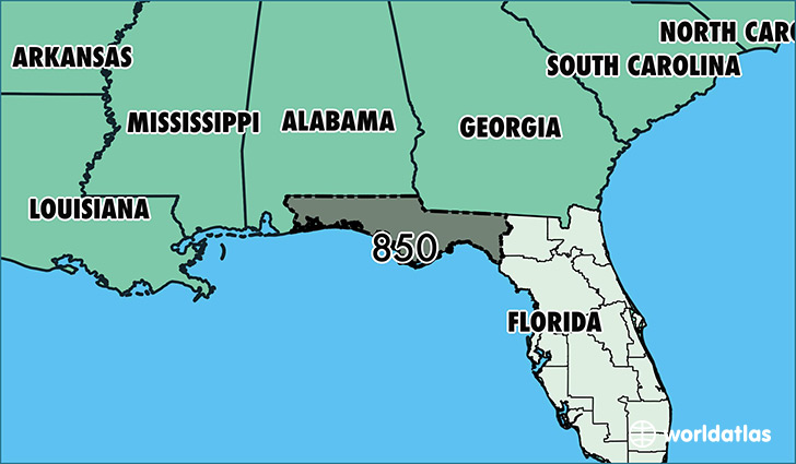 Where Is Area Code 850 Map Of Area Code 850 Tallahassee FL Area