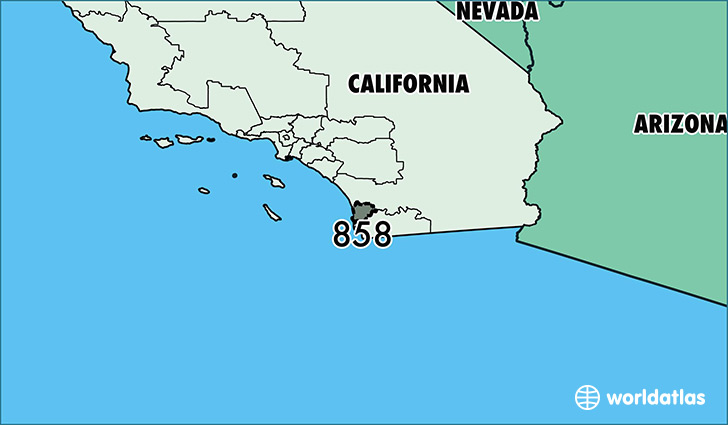 Map of California with area code 858 highlighted