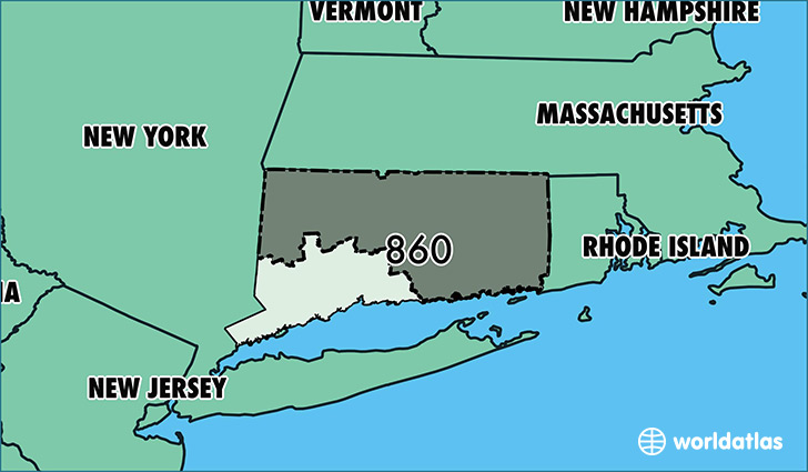 Where Is Area Code 860 / Map Of Area Code 860 / Hartford, CT ...