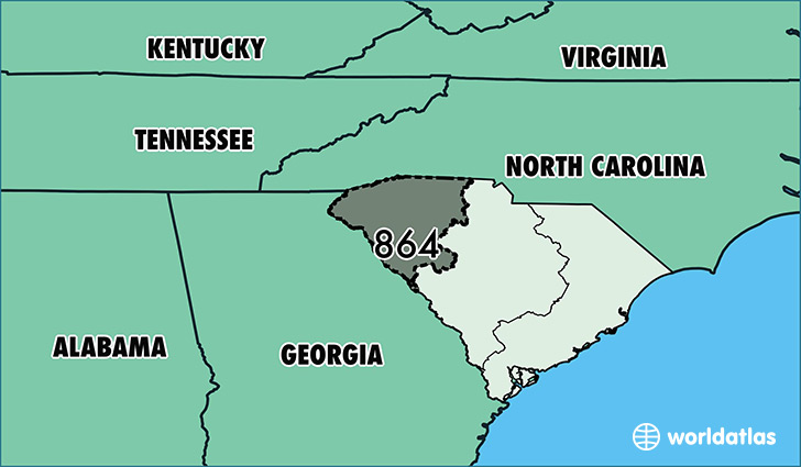 Where Is Area Code 864 Map Of Area Code 864 Greenville SC Area Code