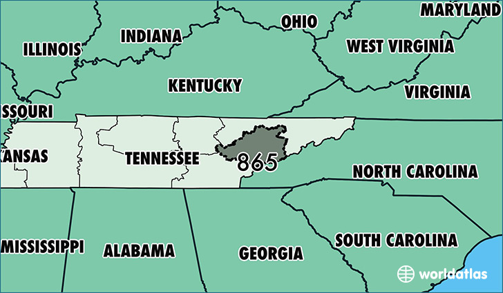Where Is Area Code 865 / Map Of Area Code 865 / Knoxville, TN Area Code
