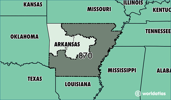 Map of Arkansas with area code 870 highlighted