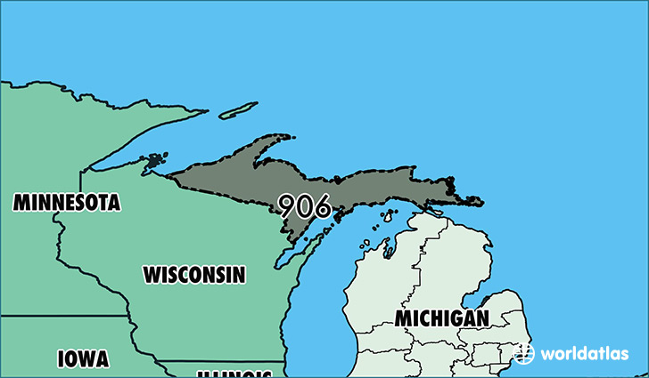 Map of Michigan with area code 906 highlighted