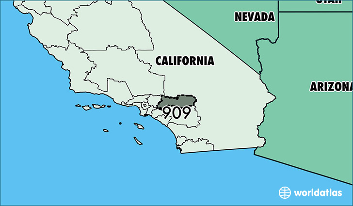 Map of California with area code 909 highlighted