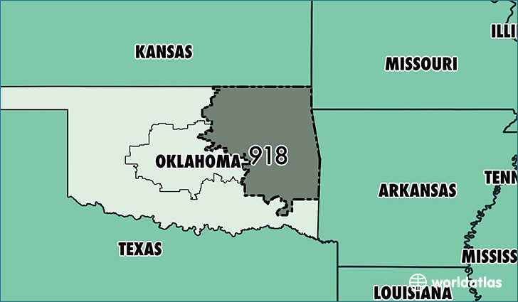 Map of Oklahoma with area code 918 highlighted