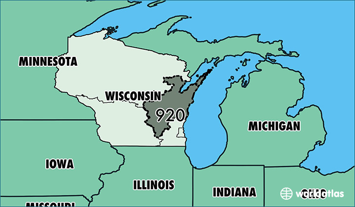Map of Wisconsin with area code 920 highlighted