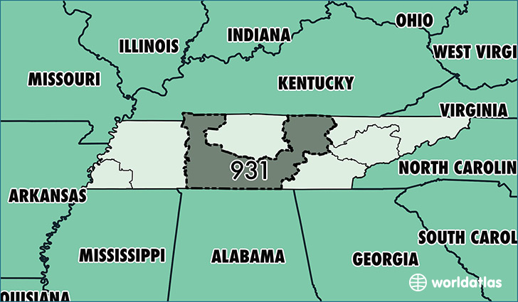 Map of Tennessee with area code 931 highlighted