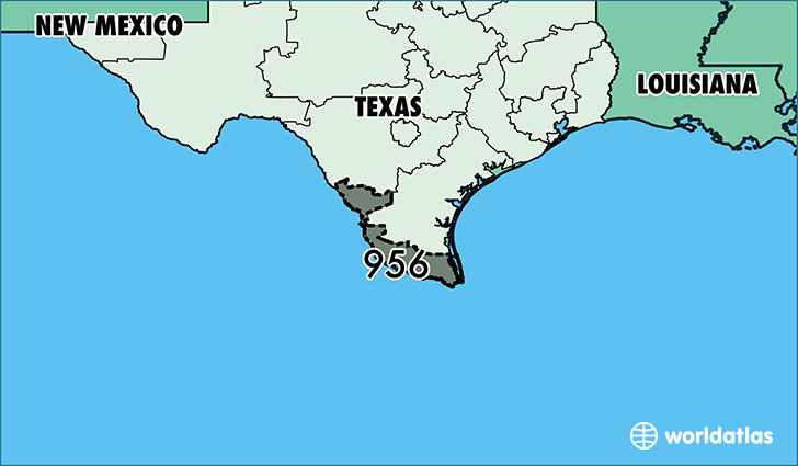 Map of  with area code 956 highlighted