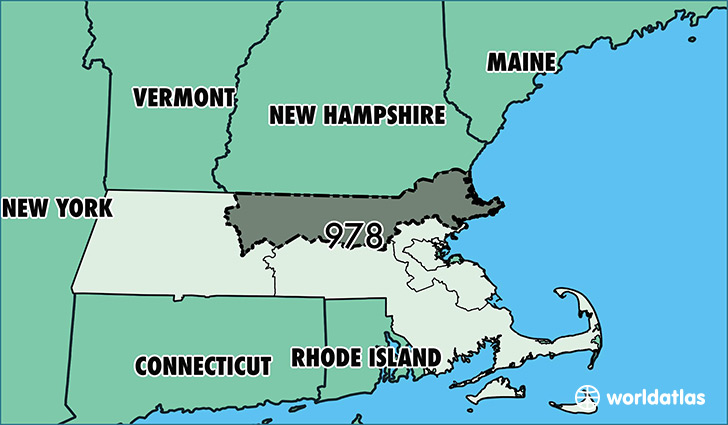 Map of Massachusetts with area code 978 highlighted
