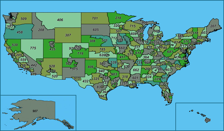 United States Of America Area Codes USA Area Code Map Map Of - Map of largest cities in us