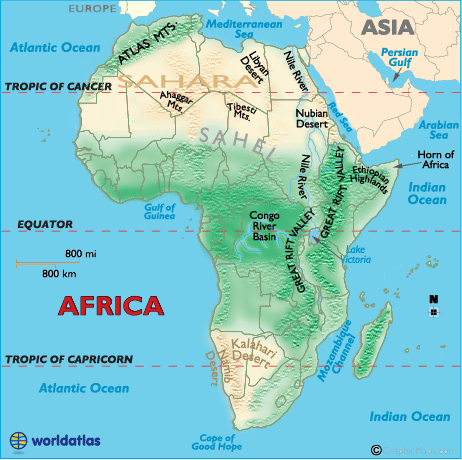 Mountains In Africa Map Geography of Africa   Worldatlas.com
