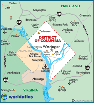 Map of District of Columbia, USA