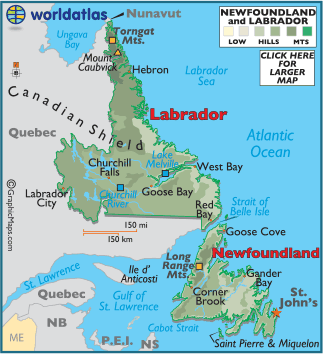 Newfoundland Map / Geography of Newfoundland / Map of Newfoundland