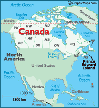 Locator Map of Prince Edward Island, Canada
