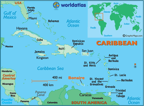 Bonaire Map Geography Of Bonaire Map Of Bonaire Worldatlascom - Map of netherlands antilles world