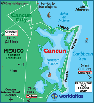 Cancun On A Map Map of Cancun   Caribbean Island Maps, Cancun Map Information
