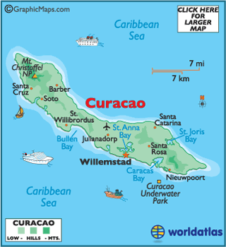 Carousel Island Caribbean Map Curacao Map / Geography of Curacao / Map of Curacao   Worldatlas.com