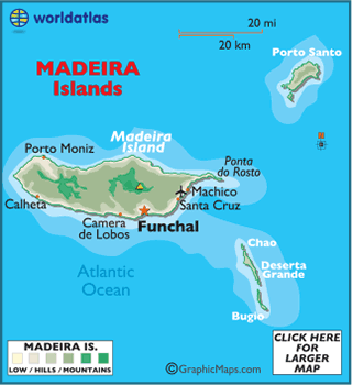Map of Madeira Islands