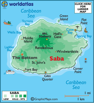 Saba Map  Geography of Saba  Map of Saba  Worldatlascom