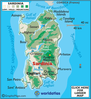 Map of Sardinia European Maps Europe Maps Sardinia Map