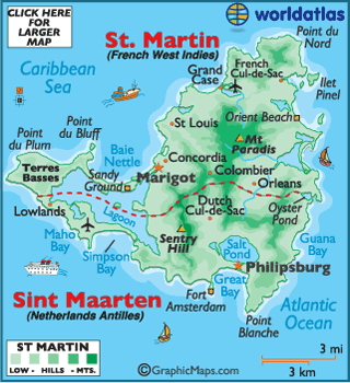 Saint Martin Maps Including Outline and Topographical Maps