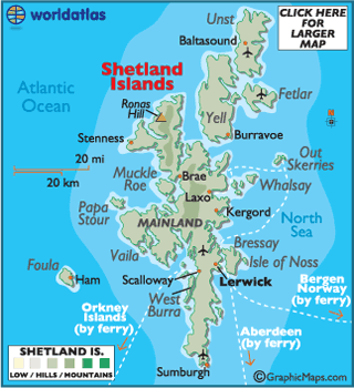 Shetland Islands Maps Including Outline and Topographical Maps
