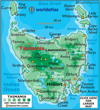 map of tasmania australia