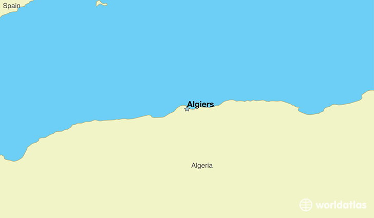 map showing the location of Algeria