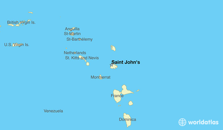 map showing the location of Antigua And Barbuda