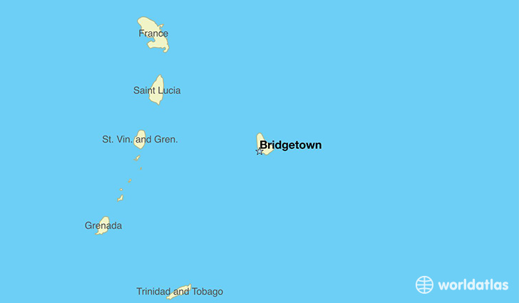 map showing the location of Barbados