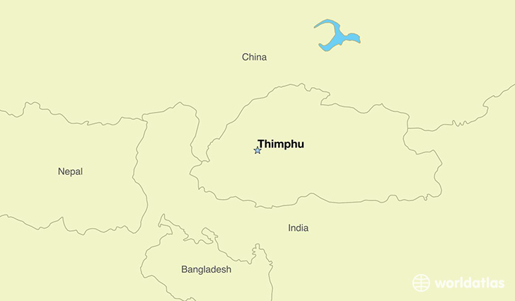 map showing the location of Bhutan