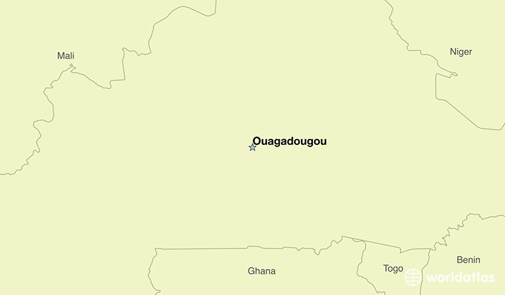 map showing the location of Burkina Faso