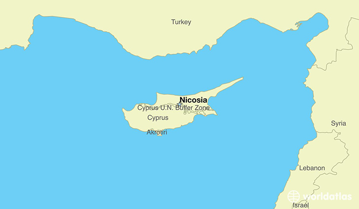 map showing the location of Cyprus