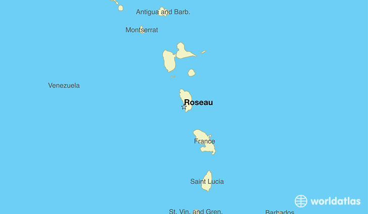map showing the location of Dominica
