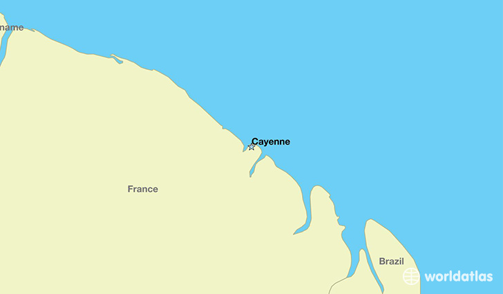 map showing the location of French Guiana
