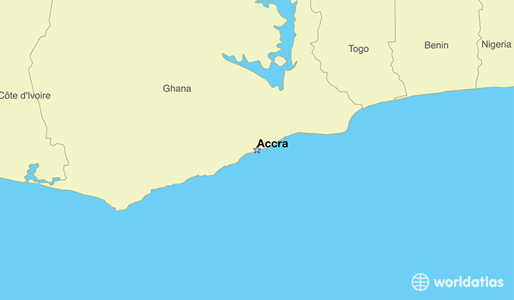 Map Showing The Location Of Ghana