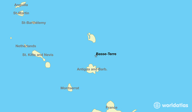 map showing the location of Guadeloupe