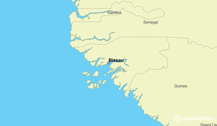 map showing the location of Guinea-Bissau