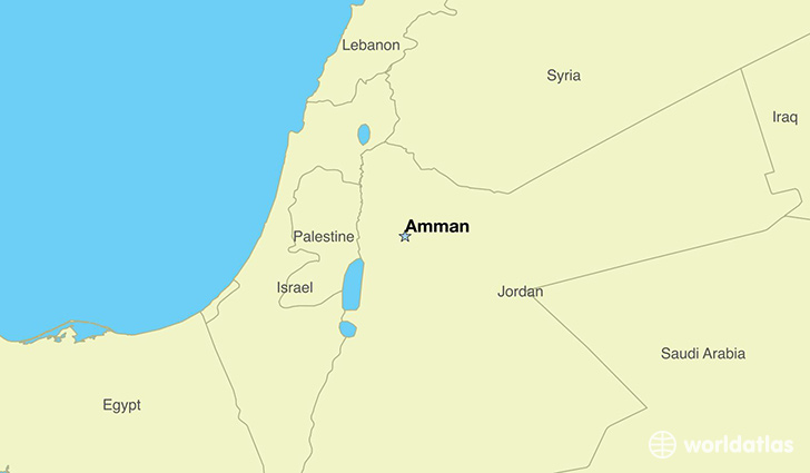 map showing the location of Jordan