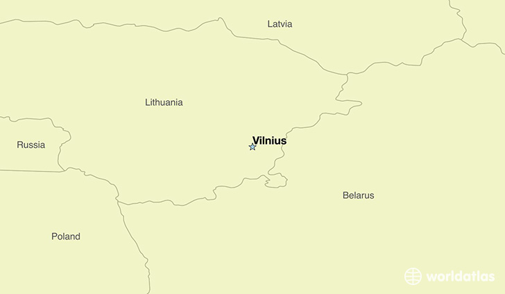 map showing the location of Lithuania